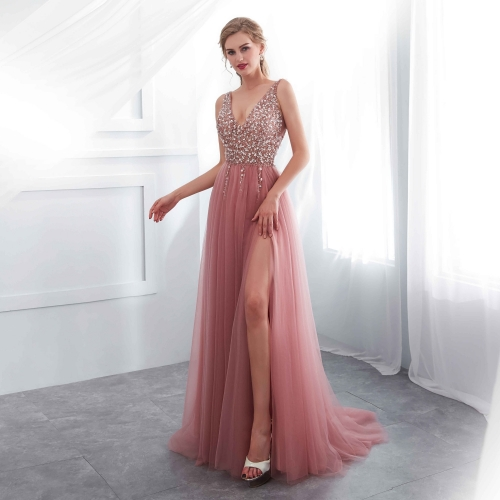 Blush Pink Tulle Long Prom Dress with Slit