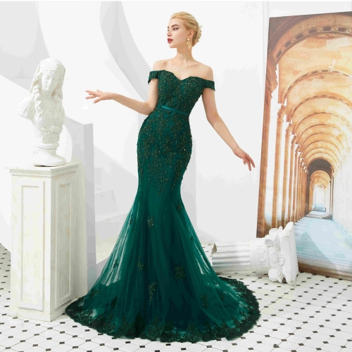 Dark Green Off the Shoulder Evening Dress