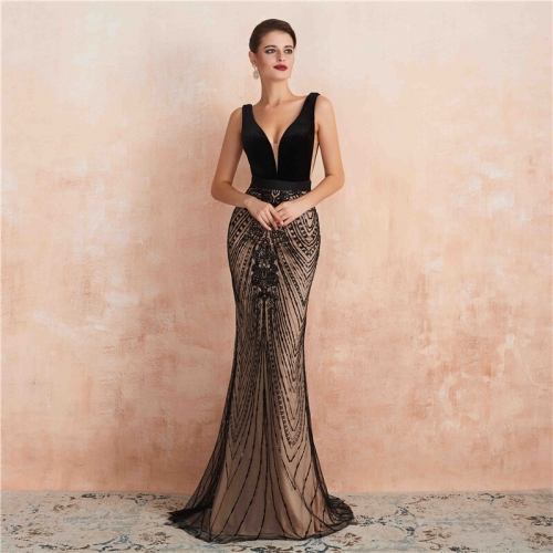 Black Mermaid Velvet Evening Dress