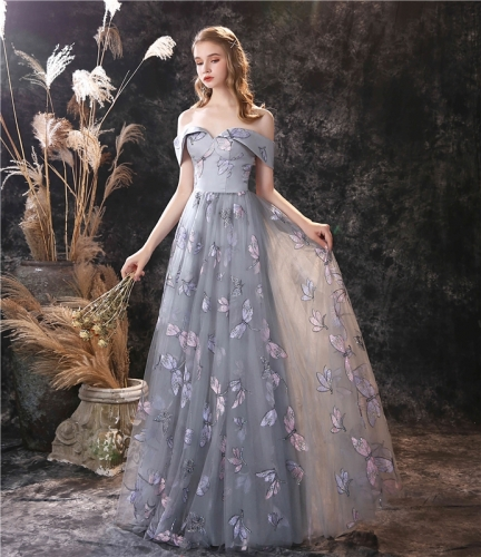 Off the Shoulder Grey Prom Dress with Dragonfly Embroidery