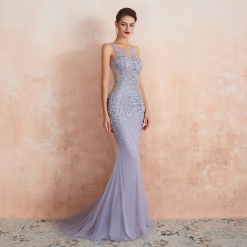 Luxury Lavender Mermaid Long Evening Dress