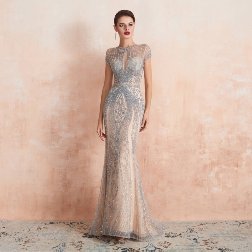Luxurious Champagne Tulle Long Evening Dress with Cap Sleeves