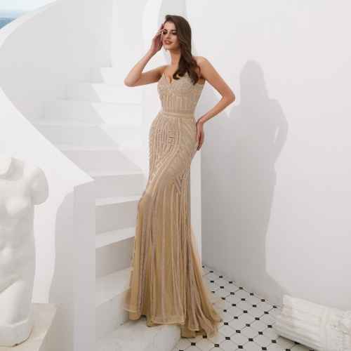 Elegant Gold Mermaid Long Evening Dress