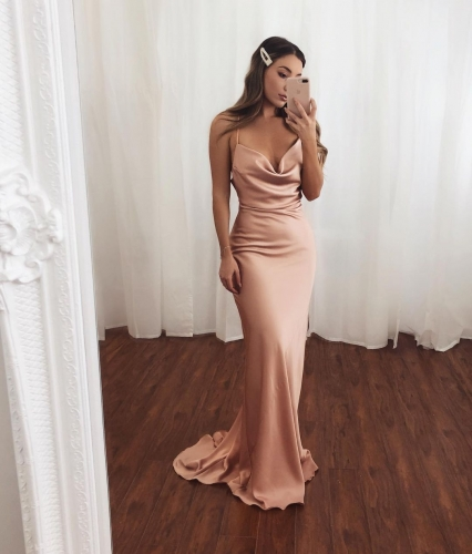 Sexy Mermaid Blush Long Evening Dress