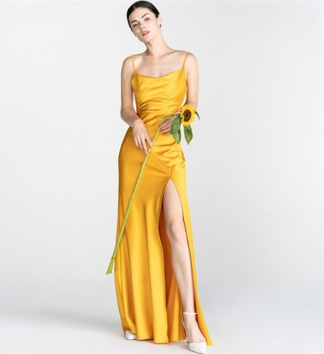 Yellow Long Slip Dress with Slit