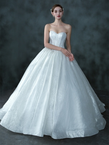 Stunning Sweetheart White Long Bridal Gown