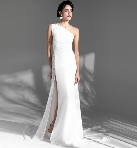 Simple One Shoulder White Long Wedding Dress