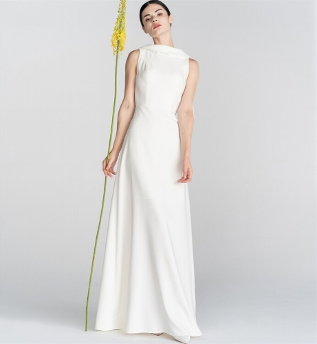 Simple White Long Wedding Dress with Cape
