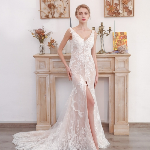 Flattering White Lace Mermaid Long Wedding Dress with Slit