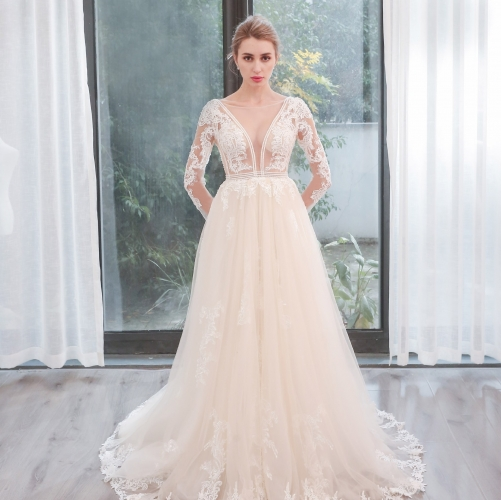 Long Sleeves Ivory See Through Bridal Gown