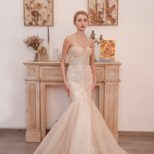 Champagne Mermaid Sweetheart Tulle Long Wedding Dress