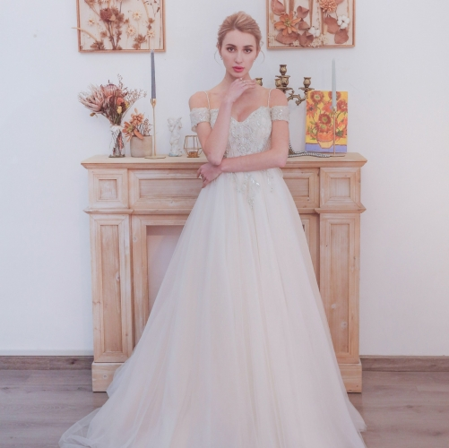 Off the Shoulder White Bridal Gown