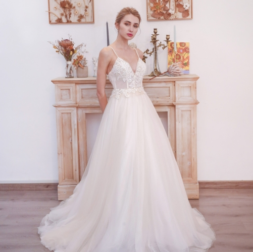 Plunge White A-line Long Wedding Dress with Pockets
