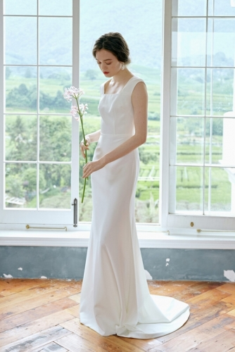 Square Neck White Long Wedding Dress