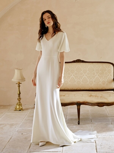 Short Sleeves White Long Wedding Dress