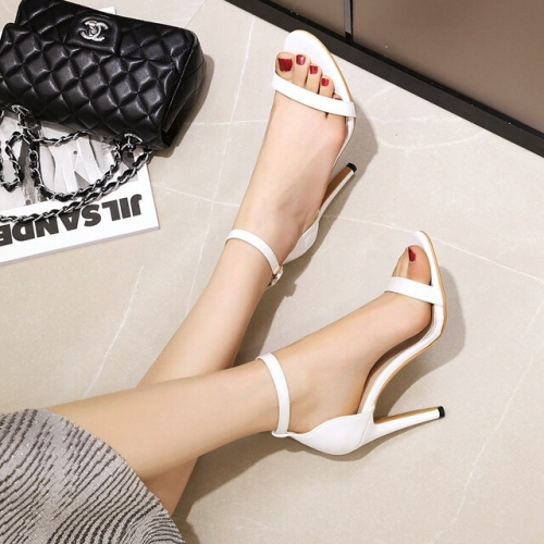 Classic White Straps Ankle Heels