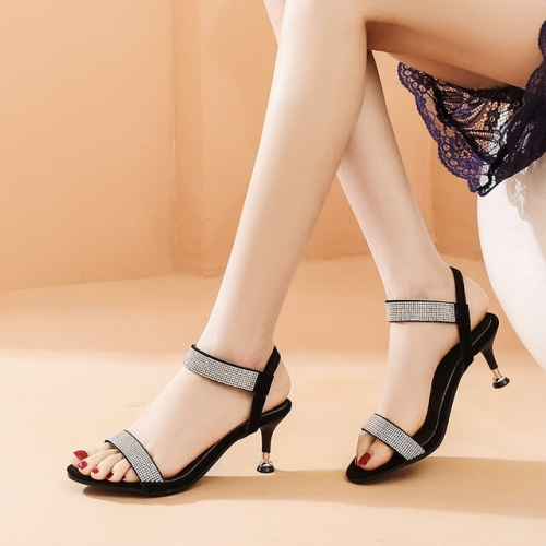 Black Sandals with Clear Crystals