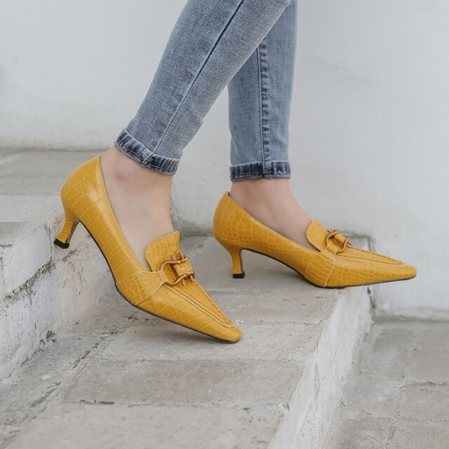 Mustard Yellow Pointed-toe Heels