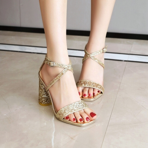 Gold Straps Ankle Heels