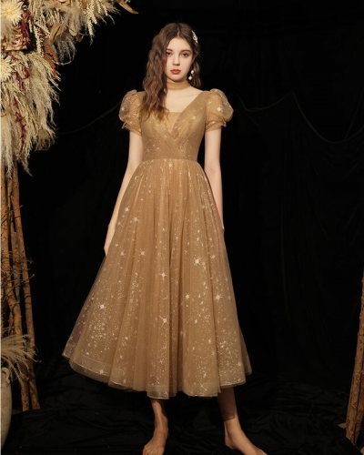 Princess Champagne Tea Length Dress