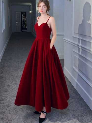 Straps Wine Red Velvet Long Formal Dress with Pockets