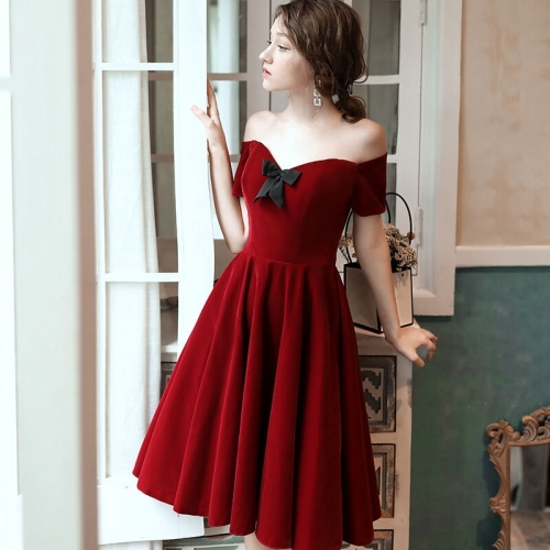 Short Velvet Wine Red Dress
