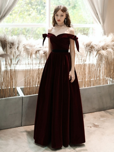 Burgundy Velvet Off the Shoulder Evening Dress