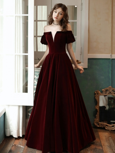 Bell Sleeves Burgundy Velvet Formal Dress