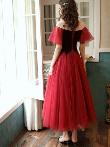 Burgundy Tea Length Party Dress