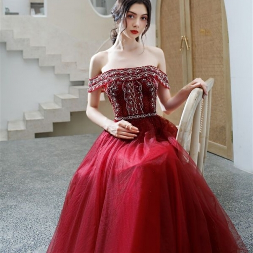 Off the Shoulder Beaded Wine Red Long Formal Dress