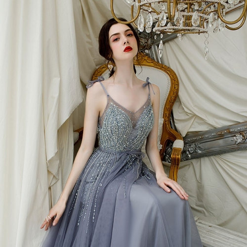 Gorgeous Spaghetti Straps Grey Tulle Long Formal Dress
