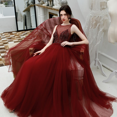 Scoop A-line Wine Red Tulle Long Formal Dress