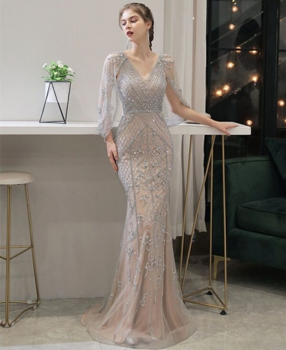Beaded Mermaid Long Evening Dress