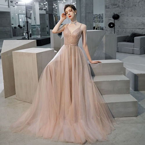 Spaghetti Straps A-line Pink Tulle Long Formal Dress