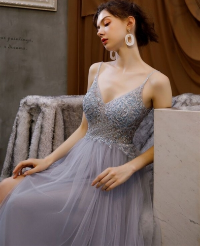 A-line Grey Tulle Long Prom Dress with Spaghetti Straps