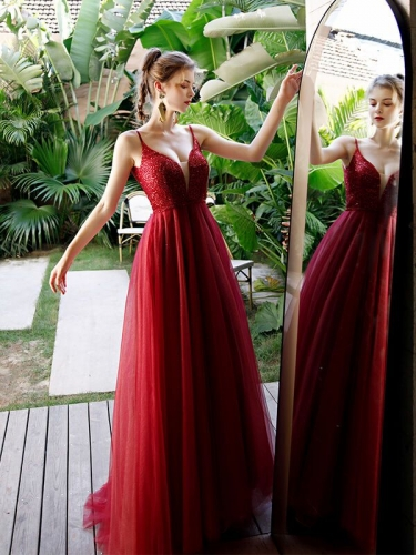Classic A-line Red Long Formal Dress