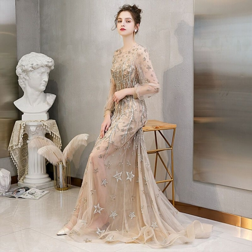 Luxurious Long Sleeves Gold Long Evening Dress