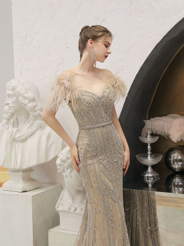 Beaded Champagne Off the Shoulder Long Evening Dress