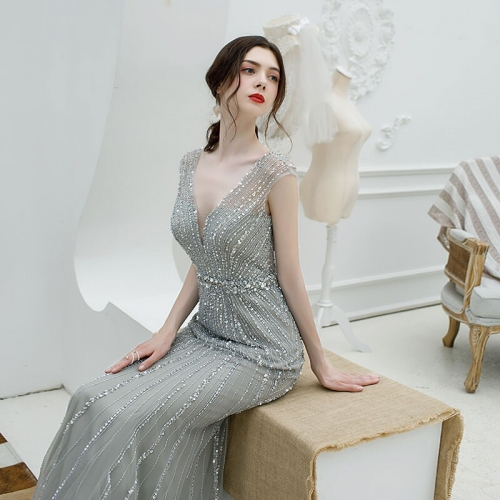 Mermaid Beaded Grey Long Evening Dress